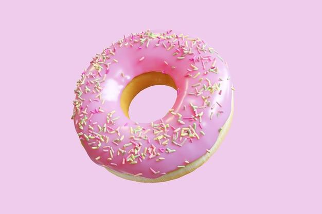Closeup donut topping mit bunten zuckerguss süß isoliert auf rosa hintergrund schwimmen. minimal food idea konzept 3d-rendering.