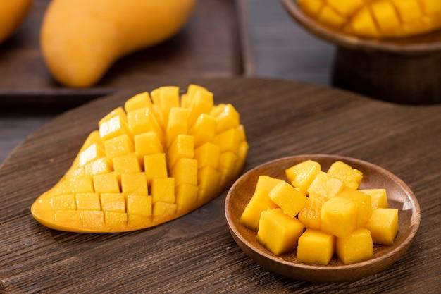 Closeup frische mangoscheiben