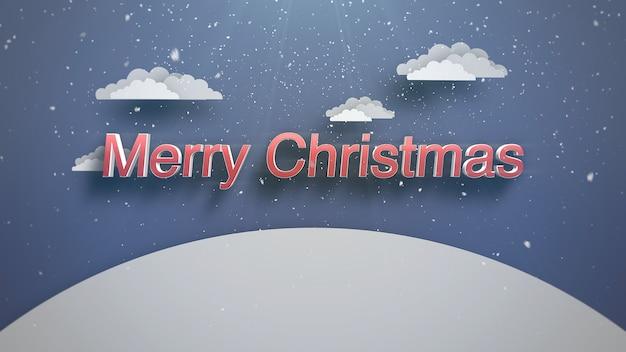 Closeup frohe weihnachten text, berge und schneien landschaft. luxuriöse und elegante 3d-darstellung im dynamischen stil für den winterurlaub