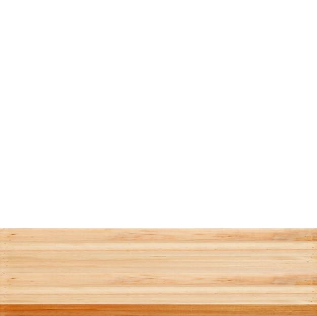Closeup klarer hölzerner studiohintergrund auf weißem hintergrund - gut für gegenwärtige produkte verwenden.