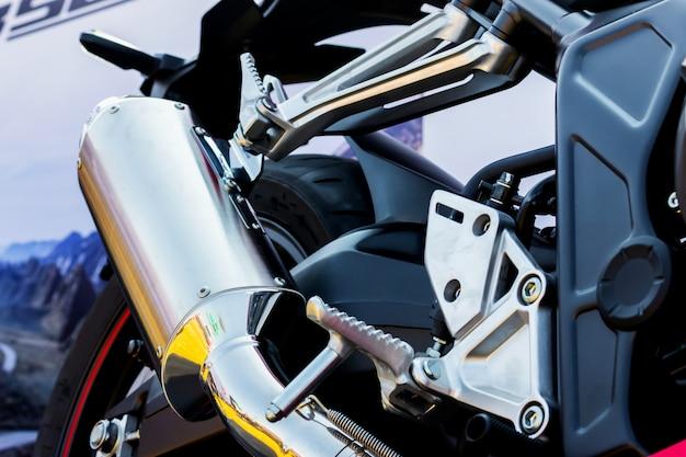 Closeup motorrad auspuffrohr