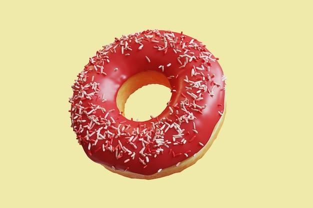 Closeup red jelly donut topping mit bunten zuckerguss süß isoliert schwimmend auf gelbem hintergrund. minimal food idea konzept 3d-rendering.
