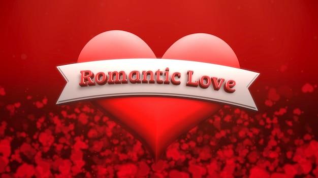 Closeup romantischer liebestext und romantisches herz am valentinstag glänzenden hintergrund. luxuriöse und elegante 3d-illustration für den urlaub