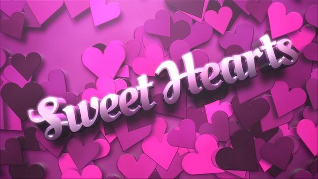 Closeup sweet heart text und romantisches herz am valentinstag glänzenden hintergrund. luxuriöse und elegante 3d-illustration für den urlaub