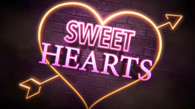 Closeup sweet hearts text und romantisches herz am valentinstag glänzenden hintergrund. luxuriöse und elegante 3d-illustration für den urlaub