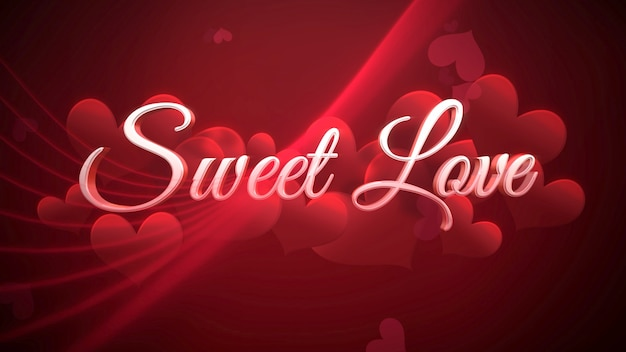 Closeup sweet love text und romantisches herz am valentinstag glänzenden hintergrund. luxuriöse und elegante 3d-illustration für den urlaub