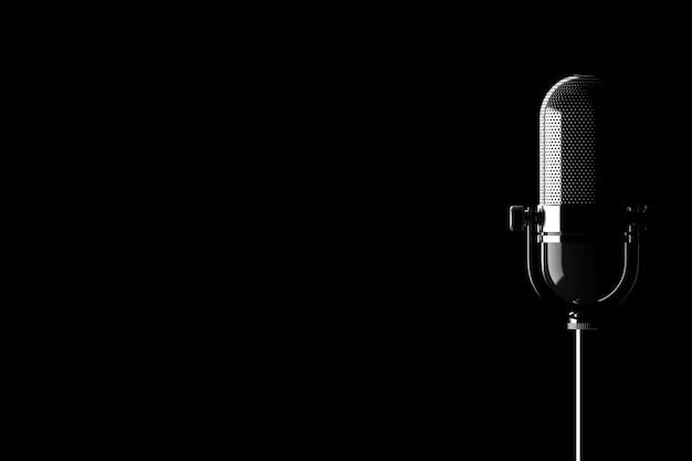 Closeup vintage silver mikrofon mit leerzeichen für ihren text auf schwarzem hintergrund. 3d-rendering