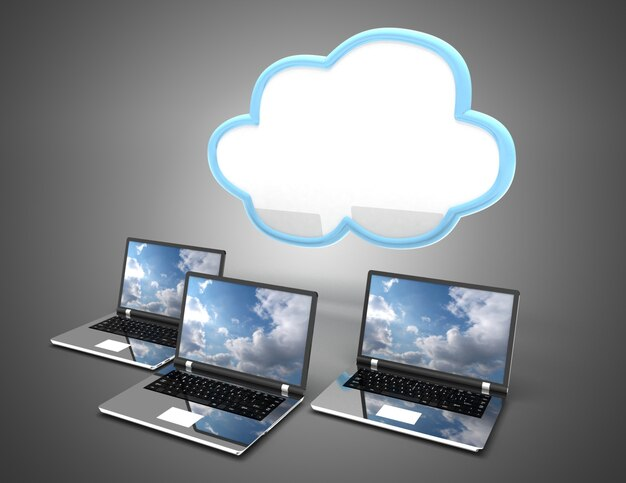 Cloud-computing-konzept. 3d-darstellung