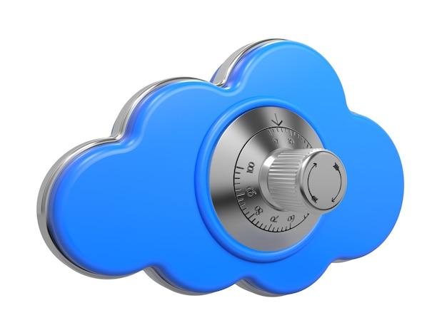 Cloud-computing-konzept. eine wolke mit safe lock. 3d-illustration.