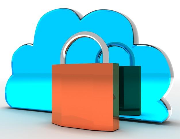 Cloud-computing-sicherheitskonzept. 3d gerenderte darstellung