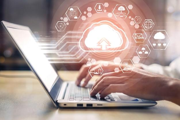 Cloud-computing-technologie und online-datenspeicherung für das unternehmensnetzwerkkonzept.