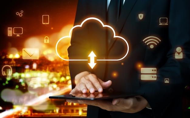 Cloud-computing-technologie und online-datenspeicherung für den globalen datenaustausch