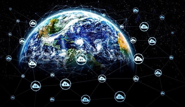 Cloud-computing-technologie und online-datenspeicherung in innovativer wahrnehmung
