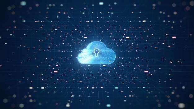 Cloud computing und big data-konzept. 5g-konnektivität von digitalen daten und futuristischen informationen.