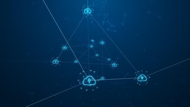 Cloud computing und big data-konzept. netzwerkkonnektivität von digitalen daten und futuristischen informationen. abstraktes highspeed-internet der dinge iot big data cloud computing.