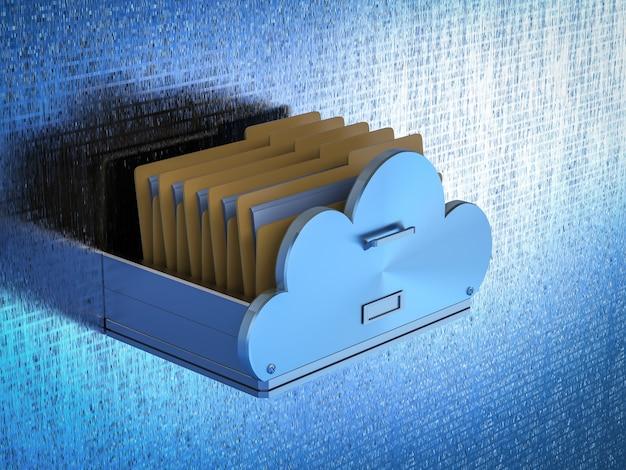 Cloud-speichertechnologie mit schublade mit dateien in der cloud
