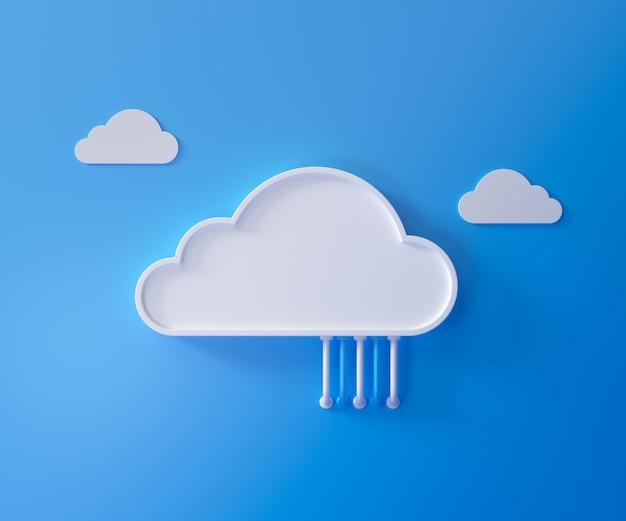 Cloud-speichertechnologie und online-datenspeicherung, cloud-computing, hosting weißer cloud mit blau