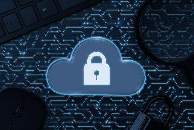 Cloud-symbol auf abstrakter hintergrund-mainboard-illustration