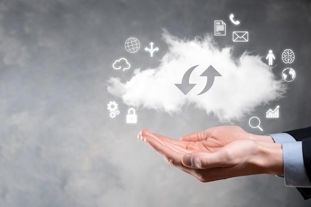 Cloud-technologie. cloud-speicherschild mit zwei pfeilen auf und ab bei dunkelheit. cloud computing, großes rechenzentrum, zukünftige infrastruktur, digitales ai-konzept. virtuelles hosting-symbol.