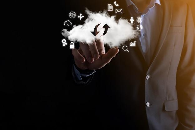 Cloud-technologie. cloud-storage-schild mit zwei pfeilen nach oben und unten bei dunkelheit. cloud-computing, großes rechenzentrum, zukünftige infrastruktur, digitales ai-konzept. virtuelles hosting-symbol
