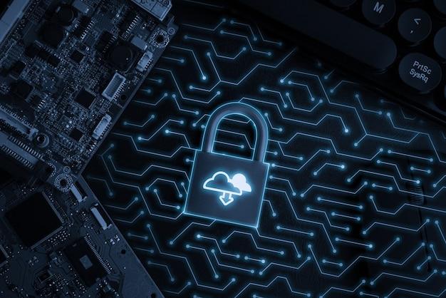 Cloud-technologie-symbol auf der tastensperre für das globale geschäftskonzept des online-shoppings
