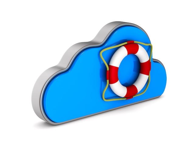 Cloud und rettungsring auf weißem hintergrund. isolierte 3d-darstellung