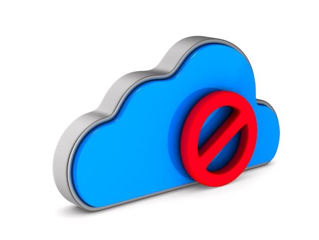 Cloud und zeichen auf weißem hintergrund verboten. isolierte 3d-darstellung