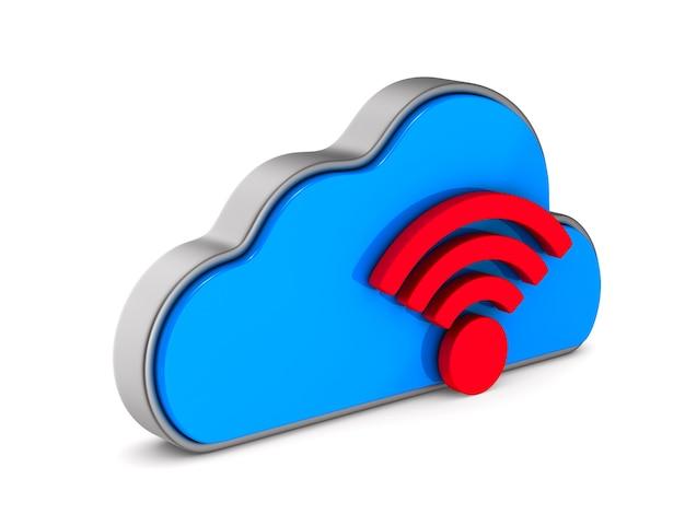 Cloud und zeichen wi-fi auf weißem hintergrund. isolierte 3d-darstellung