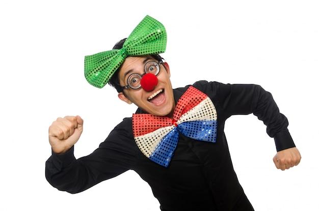 Clown lokalisiert auf dem weißen hintergrund