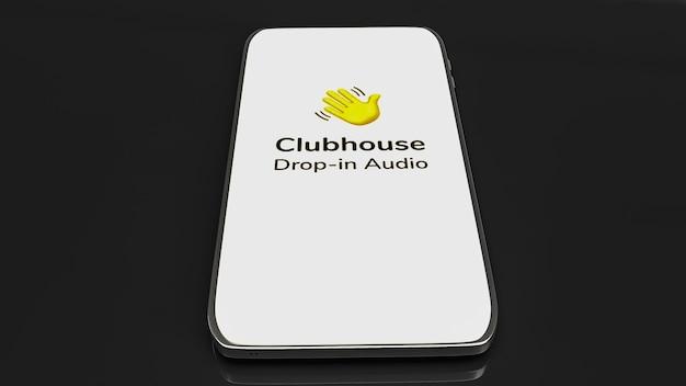 Clubhaus-app für drop-in-audio-chat-anwendung auf smartphone 3d-rendering