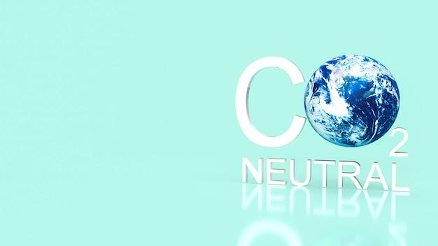 Co2-neutraler text und erde für das 3d-rendering des ökologiekonzepts