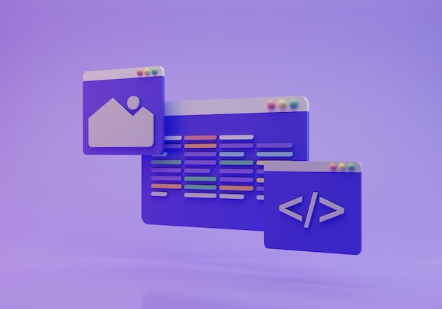 Codierungsbildschirm 3d-rendering
