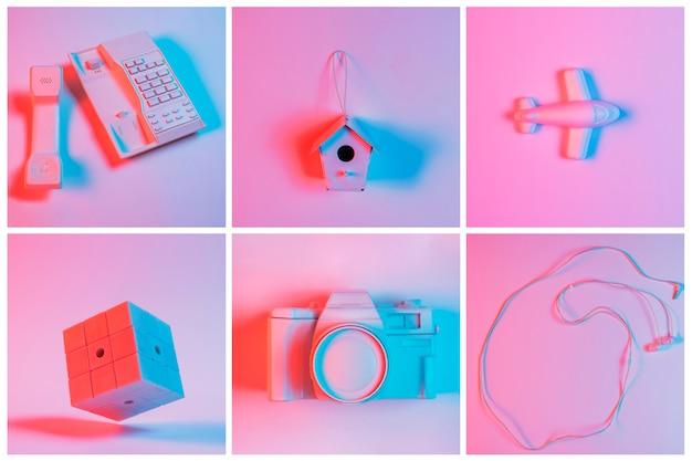 Collage aus lackiertem festnetztelefon; vogelhäuschen; flugzeug; kamera und kopfhörer über dem rosa hintergrund