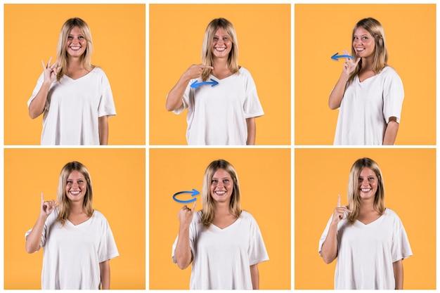 Collage der lächelnden jungen frau, die verschiedene taube zeichenalphabete zeigt