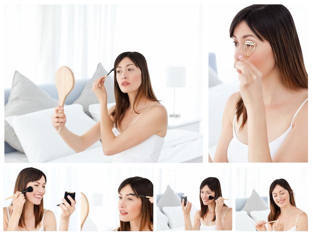 Collage einer attraktiven brunettefrau, die an make-up setzt