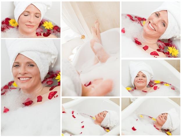Collage einer frau, die ein bad hat