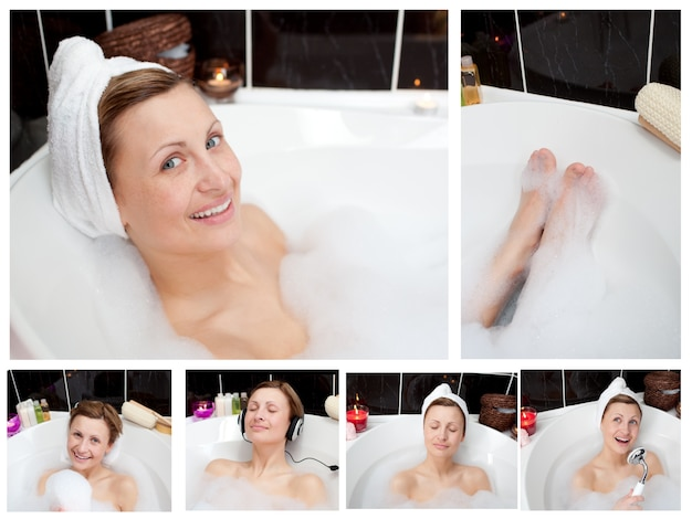 Collage einer frau in einem bathtube