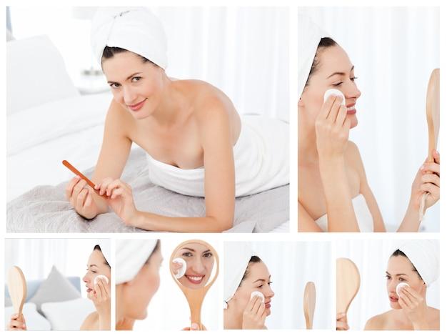 Collage einer herrlichen brunettefrau, die an make-up setzt
