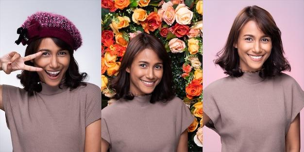 Collage group pack of fashion junge mutter 30er jahre indische / asiatische frau schwarze locke kurze haare schön make-up lila kleid tragen hut lächeln gute laune gesicht. studiobeleuchtung weiß, blume, rosa hintergrund