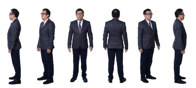 Collage gruppe in voller länge figur der 50er 60er jahre asiatischer älterer mann schwarze haare anzughose und schuhe. senior manager steht und dreht 360 um die hintere rückansicht über weißem hintergrund isoliert