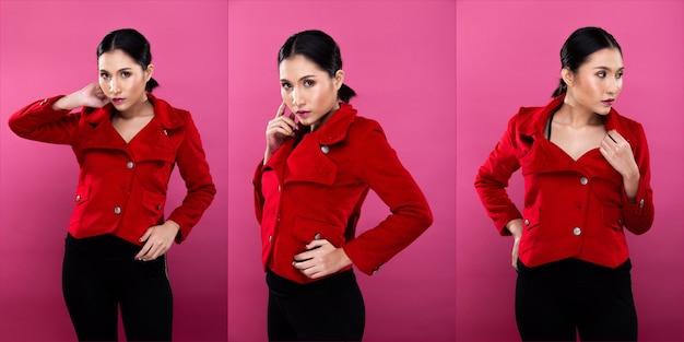 Collage-gruppenpaket porträt der asiatischen geschäftsfrau trägt roten formellen anzug, hat einen selbstbewussten, intelligenten look, studiobeleuchtung rosa hintergrund isoliert, anwaltschef posiert mit einem lächeln, der intelligent aussieht