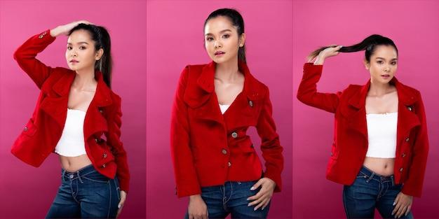 Collage-gruppenpaket porträt einer asiatischen geschäftsfrau trägt einen roten formalen blazer-jackenanzug, hat einen selbstbewussten, intelligenten look, studiobeleuchtung rosa hintergrund isoliert, anwaltschef posiert mit einem lächeln, der intelligent aussieht