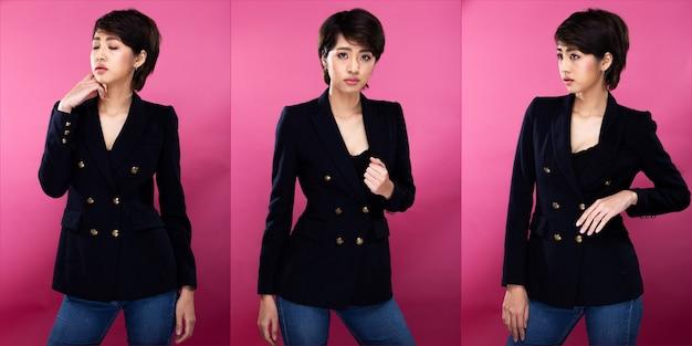 Collage-gruppenpaket porträt einer asiatischen geschäftsfrau trägt schwarzen formellen anzug, hat einen selbstbewussten, intelligenten look, studiobeleuchtung rosa hintergrund isoliert, anwaltschef posiert mit einem lächeln, der intelligent aussieht