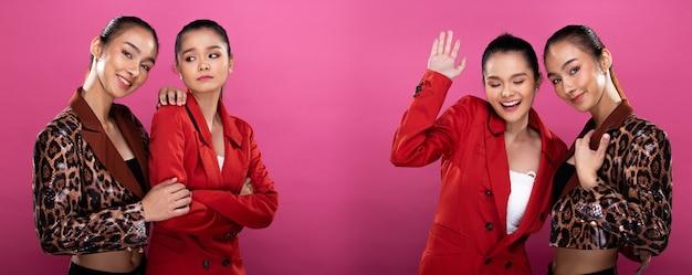 Collage-gruppenpaket porträt von zwei asiatischen geschäftsfrauen trägt einen roten formellen anzug, hat einen selbstbewussten, intelligenten look, studiobeleuchtung rosa hintergrund isoliert, freunde sprechen und lächeln miteinander