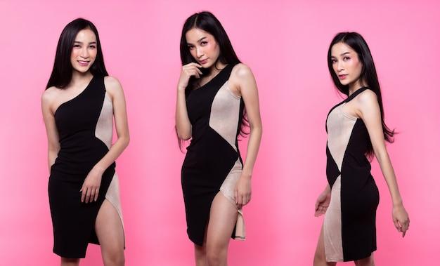 Collage-gruppenpaket portrait of fashion asian woman tan haut schwarzes langes haar bis zur taille schöne high-fashion-make-up sexy boob-kleid. studiobeleuchtung rosa süßer hintergrund kopieren raumtextlogo