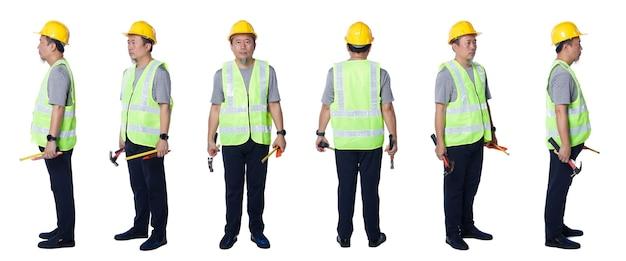 Collage in voller länge figur der 50er 60er jahre asiatischer älterer mann ingenieur tragen sicherheitswesten-schutzhelmwerkzeuge. älteres männchen steht und dreht 360 um die rückseite der rückansicht über weißem hintergrund isoliert