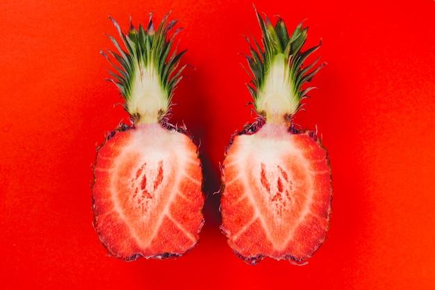 Collage mit ananas halbieren