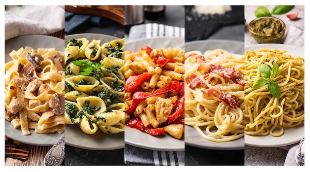 Collage mit verschiedenen nudelgerichten.