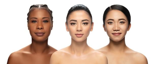 Collage multiethnische schönheit unterschiedliche ethnie und schöne junge frauen isoliert auf weißem hintergrund