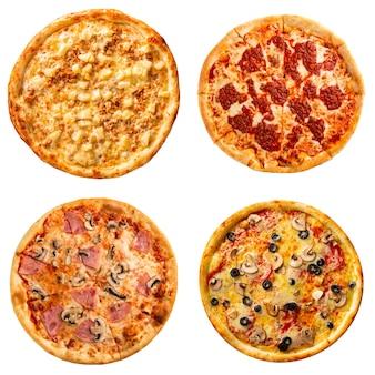Collage-set von vier verschiedenen pizzen für das menü isoliert